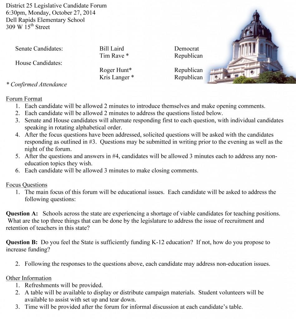Microsoft Word - District 25 Legislative Candidate Forum-Format