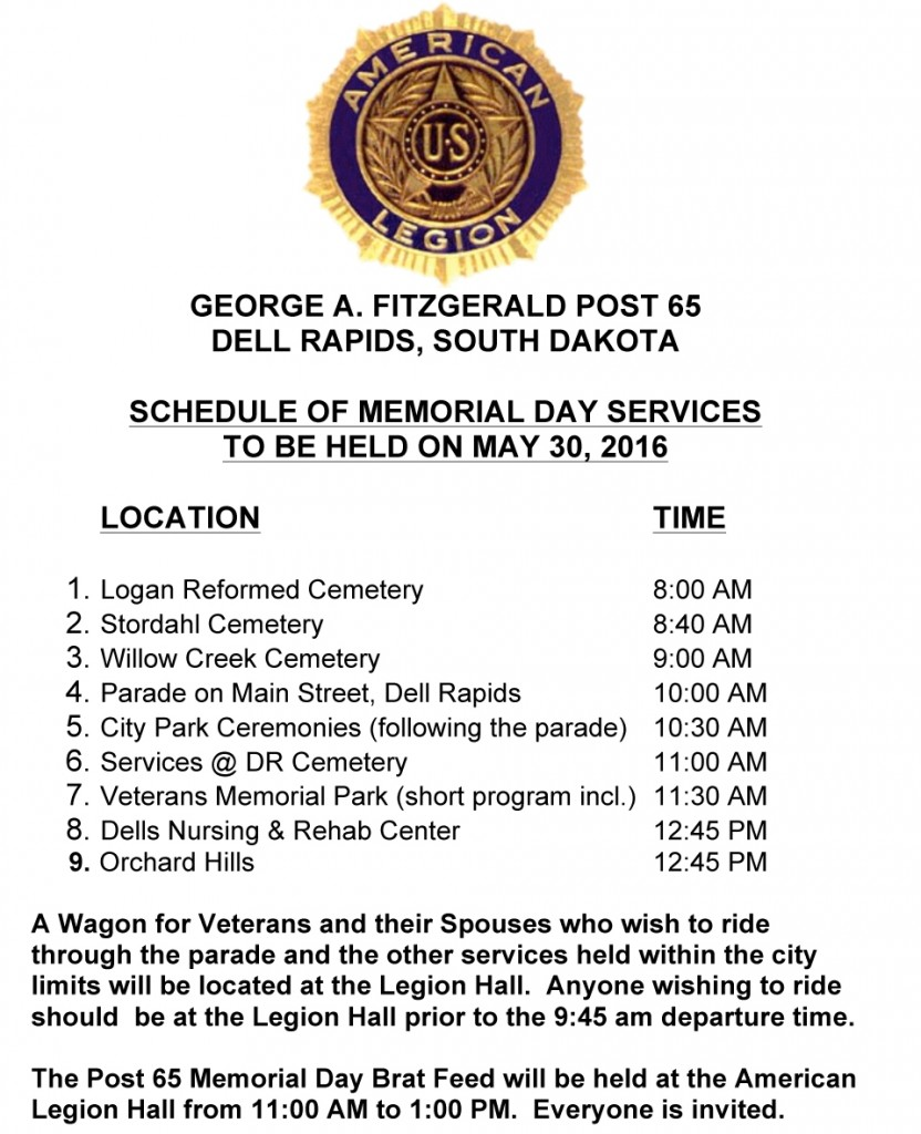 Microsoft Word - Memorial Day Legion Activities for 2016.doc