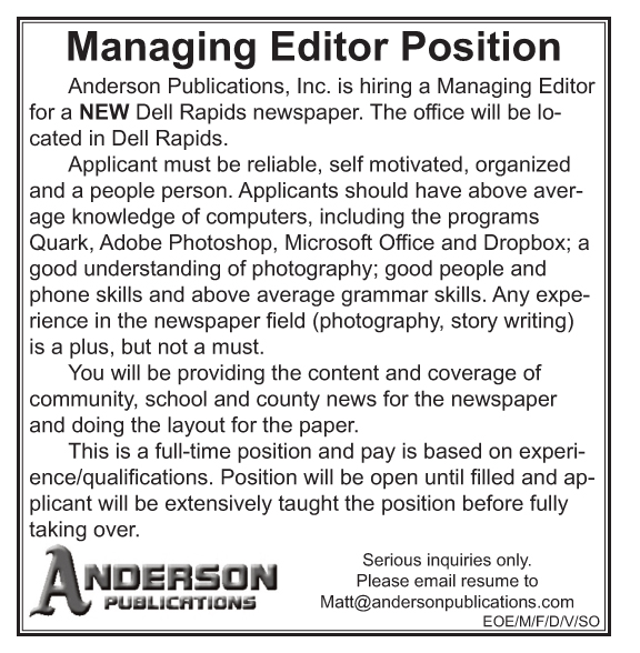Job Opening Anderson Publications  Editor  Big Sioux Media