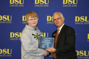 Photo provided by Dakota State University:  Guerts with Bob Preloger, interim vice president for Institutional Advancement at DSU