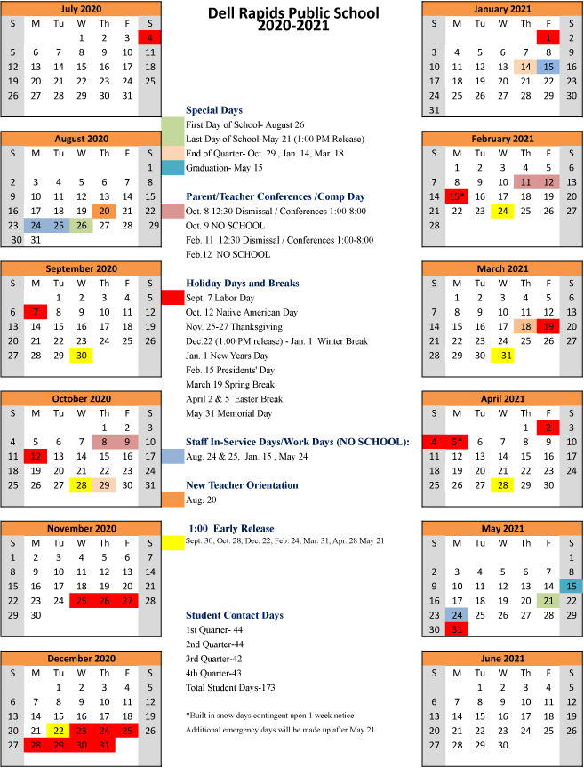 2020-2021 Dell Rapids School Calendar Approved - Big Sioux ...